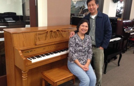 Julie & Gani Paredes with their Yamaha Studio Piano