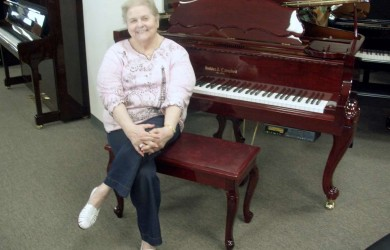 Ann Moorefield and her Kohler & Campbell Art Case Player Piano