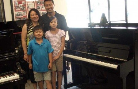 Josephine Koh and Family with their new Kingsburg Studio Piano