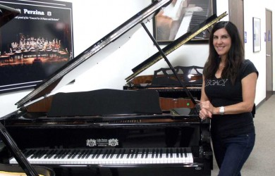 Donna Borruel and her new Perzina Grand Piano