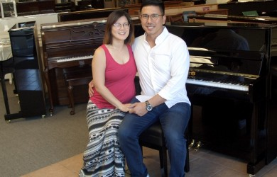 The Nadres with their new Perzina Studio Piano